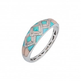 White Gold Turquoise, Coral And Diamond Bangle